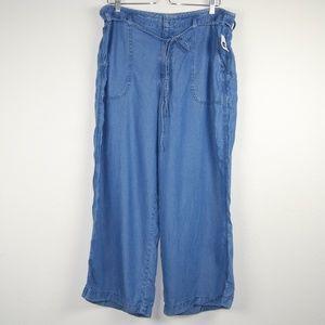 GAP Blue Wide Leg Utility Jeans Capri Size 33